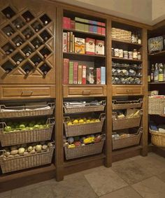 Pantry - like the idea of slide out storage baskets, not that i would hever have that many vegetables at once