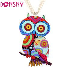 Bonsny Owl Necklace Acrylic Pattern Chain Animal Bird Pendant Fashion Jewelry 2015 News Accessories Famous Brand Unique Design