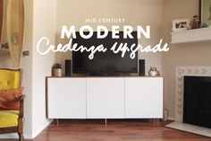 A Pair of Pears: DIY: Mid Century Modern Credenza Upgrade - ikea hack! Mid Century Sideboard, Mid Century Decor, Do It Yourself Inspiration, Room Inspiration, Modern Credenza, Credenza Ikea, Creation Deco, Home And Living, Living Room