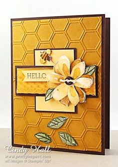 hand crafted greeting card: Hello  .... Delightful Dijon and expresso brow ... honeycomb embossing folder ... lovely look ... Stampin' Up!