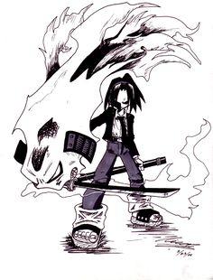"O.S. ""Amidamaru"" (O.S. 阿弥陀丸) |  Shaman: Asakura Yoh | O.S. Type: Weapon | Type     Spirit Ally: Amidamaru (human ghost) | Medium used: Harusame"