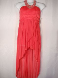 Pompous Girly Pink Jeweled Halter Hi-Lo Party Prom Formal Dress  Size XL