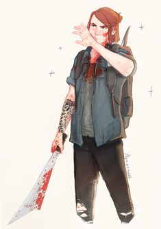 Messy art — fucking superb you funky murderous little lesbian. Joel And Ellie, Character Art, Character Design, The Last Of Us2, I See Red, Messy Art, Video Game Art, Video Games, Video Game Characters