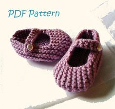 Knitting Pattern for Mary Jane Baby Shoes 3-6 months