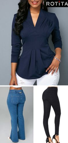 Loved the top and jeans.Shop for clothing at Rotita. Casual Outfits, Cute Outfits, Fashion Outfits, Womens Fashion, Curvy Fashion, Plus Size Fashion, Trendy Clothes For Women, Look Chic, Work Attire
