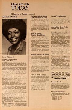 "Ohio University Today, Fall 1984. ""Brenda Williams '69. From Rock Radio Station to the 6 p.m. News."" :: Ohio University Archives"