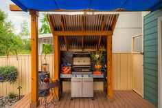 Staggering Barbecue Grill decorating ideas for Magnificent Patio Mediterranean design ideas with built-in grill concrete patio glass door grill countertop lawn outdoor lighting square Outdoor Grill Area, Patio Grill, Bbq Area, Backyard Patio, Outdoor Spaces, Bbq Gazebo, Outdoor Patios, Concrete Patios, Porches
