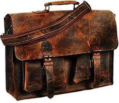 Messenger Bag Retro Buffalo Hunter Leather Laptop Messenger Bag Office Briefcase College 16 INCH by Vintage Couture (Dark Brown) (Brown Vintage Leather Messenger Bag, Leather Laptop Case, Leather Bag, Laptop Messenger Bags, Laptop Bag, College Bags, Laptop Shoulder Bag, Handbags For Men, Briefcase