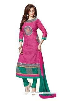 remarkable-embroidered-work-hot-pink-cotton---churidar-designer-suit.jpg (800×1100)