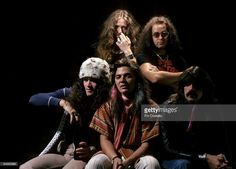 Photo of David COVERDALE and DEEP PURPLE and Jon LORD and Tommy BOLIN and Glenn HUGHES and Ian PAICE; L-R : David Coverdale, Ian Paice, : Glenn Hughes, Tommy Bolin, Jon Lord - posed, studio, group shot