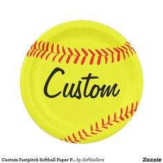 Custom Fastpitch Softball Paper Plates! Type in your own team name or any other text! #softball #paper #plates #party #softballparty #paperplates