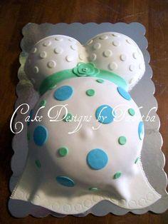 baby shower, baby bump cake, polka dots  https://www.facebook.com/TabbysCakes/
