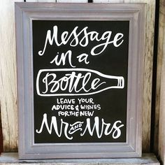 Custom Message in a Bottle Wedding Chalkboard by SaltCitySigns