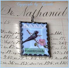 bird collage pendant (I love the scalloped edge!) glass, bezels, frames, chains www.eCrafty.com
