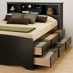 kind of in love with this bed...! Sonoma Captain's Bed with Bookcase Headboard by Prepac