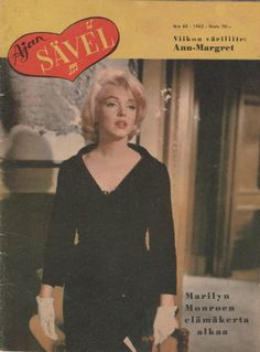 "Ajan Sävel - 1962, magazine from Finland. Front cover photo of Marilyn Monroe on the set of ""Let's Make Love"", 1960."