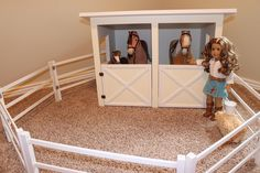 Horse Stable and Fence for American Girl or 18 inch dolls ...... cute idea