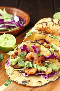 Chili Lime Shrimp Tacos with Cilantro Avocado Sauce - Katalyst Health Healthy Chicken Recipes, Seafood Recipes, Healthy Dinner Recipes, Mexican Food Recipes, Cooking Recipes, Tortilla Recipes, Vegetarian Dinners, Gf Recipes, Summer Recipes
