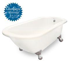 """American Bath Factory Champagne Maverick 67"""" Bisque AcraStone Tub & Drain , 7"""" Faucet Holes"""