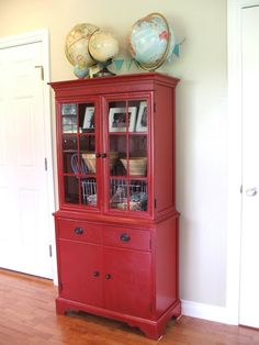 red hutch redo for Hadley Invergo Paint Furniture, Furniture Projects, Home Projects, Hutch Makeover, Furniture Makeover, Hutch Redo, Red Hutch, Red Cabinets, China Cabinets