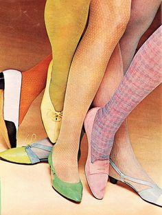 1965 Ingenue Teen Magazine Fashion Layout, '60s Shoes & Textured Stockings