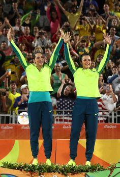 Silver medalists Agatha Bednarczuk Rippel and Barbara Seixas de Freitas of Brazil pose on the podium during the medal ceremony for the Women's Beach Volleyball on day 12 of the Rio 2016 Olympic Games at the Beach Volleyball Arena on August 17, 2016 in Rio de Janeiro, Brazil.