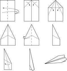 Instructions for a traditional paper plane.                                                                                                                                                                                 More