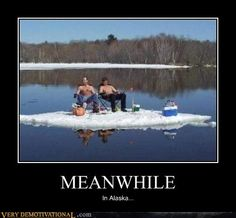 People swim in the water when there's still ice on it too!!! Only in Alaska...