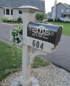 Custom Mailbox Address Vinyl Decal Stickers Mail Box Vinyl Numbers Mailbox Curb Appeal Mailbox Decals House Numbers Home Address - Modern Mailbox Garden, Diy Mailbox, Mailbox Decals, Mailbox Landscaping, Mailbox Post, Landscaping Ideas, Brick Mailbox, Mailbox Stand, Mailbox Monogram