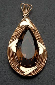 Fashion Jewellery Antique | RosamariaGFrangini | Estate Jewelry:Pendants and Lockets, Retro Smoky Quartz & Gold Pendant. ...