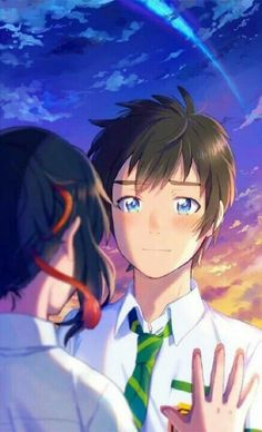 Taki e Mitsuha Kimi no Na wa 19 Wallpaper Casais, Kimi No Na Wa Wallpaper, Your Name Wallpaper, Couple Wallpaper, Anime Couple Love, Couple Manga, Cute Anime Couples, Love Lab Anime, Manga Anime
