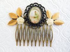 bronze bridal comb wedding hair comb white doves by didagaijewelry