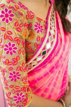 Pure Chiffon Pink Tie and Dye Saree completed with Mirror work border all around and vibrant floral motif threadwork blouse. Saree Blouse Patterns, Saree Blouse Designs, Indian Attire, Indian Ethnic Wear, Indian Style, Indian Dresses, Indian Outfits, Indian Clothes, Collection Eid