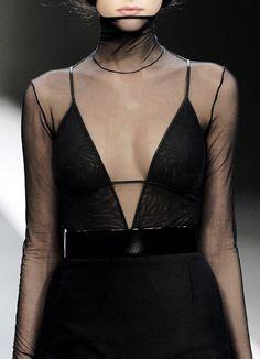 Akris F/W 2007, sheer, black, dress, belt, long sleeves, neck
