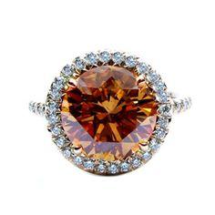 4.26Ct Fancy Cognac Diamond Frame Ring #jbirnbach