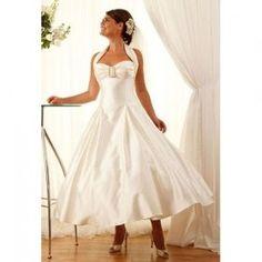Short and Tea Length Wedding Dresses : Wholesale A-Line Halter Ivory Taffeta Tea Length 1950's Vintage Wedding Dres