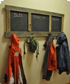Pallet Coat Rack with Chalkboard | 101 Pallet Ideas