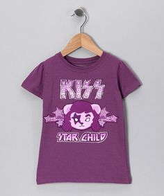 "Jade needs this! She loves ""Shout it out loud"" by KISS    Take a look at this Grape 'KISS Star Child' Tee - Toddler & Kids by With the Band: Kids' Apparel on #zulily today!"