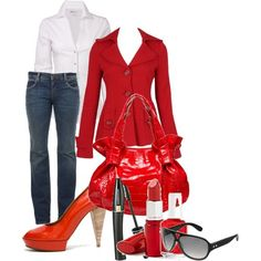 Ravishing red...this would look great with black slacks.  (don't care for the shoes)