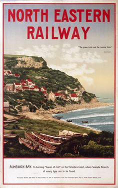 """North Eastern Railway Runswick Bay This """"North Eastern Railway Runswick Bay"""" photographic art print is created using state of the art, industry leading Digital printers. The result - a stunning reproduction at an affordable price. Posters Uk, Train Posters, Railway Posters, Retro Posters, British Travel, European Travel, National Railway Museum, Cottage Art, Seaside Resort"""