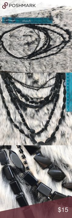 Beautiful black beaded necklace Ready for a new home!  5 strand necklace! Jewelry Necklaces