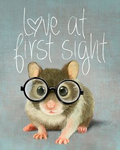 A small mouse with glasses on light blue-grey background (print 8x10) Illustration fine art giclée prints