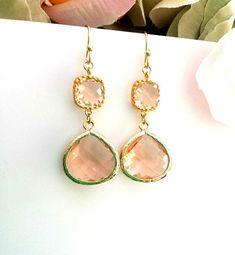 Peach Earrings Champagne Earrings Drop Peach Dangle by LaLaCrystal