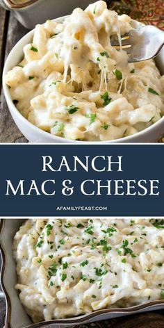 Ranch Macaroni and Cheese is creamy, cheesy and delicious! Plus, this easy recipe takes only 30 minutes to prepare. Ranch Macaroni and Cheese is creamy, cheesy and delicious! Plus, this easy recipe takes only 30 minutes to prepare. Mac Cheese Recipes, Easy Pasta Recipes, Entree Recipes, Side Dish Recipes, Macaroni And Cheese, Dinner Recipes, Easy Meals, Cooking Recipes, Vegetarian Cooking
