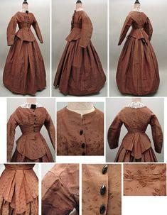 1860s Civil War Era Brown Damask Dress