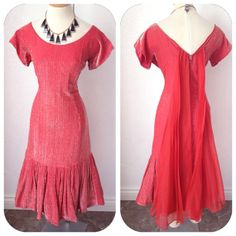 Vintage 1950s Red and  silver lurex chromspun mermaid by hipsmcgee, $450.00