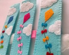 Felt bookmark, kite flying on blue sky unique bookmark, inspiring gift, freedom… Felt Bookmark, Bookmark Craft, Sewing Projects For Kids, Sewing Crafts, Sewing Ideas, Sewing Art, Felt Diy, Felt Crafts, Cute Bookmarks