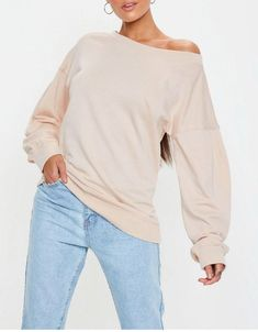 80b9d90464814b Tops · Cold Shoulder Extended Sleeve Bardot Sweatshirt  fashion  clothing   shoes  accessories  womensclothing