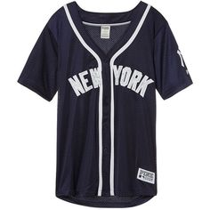 PINK New York Yankees Mesh Button Down Jersey (1,160 MXN) ❤ liked on Polyvore featuring tops, blue, sports uniforms, yankees jersey, blue short sleeve top, mesh jersey, button up jersey and blue top