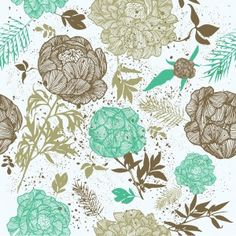 Retro Floral Template - PPT Backgrounds - Blue, Design, Flowers, Green, Grey, Pattern, White